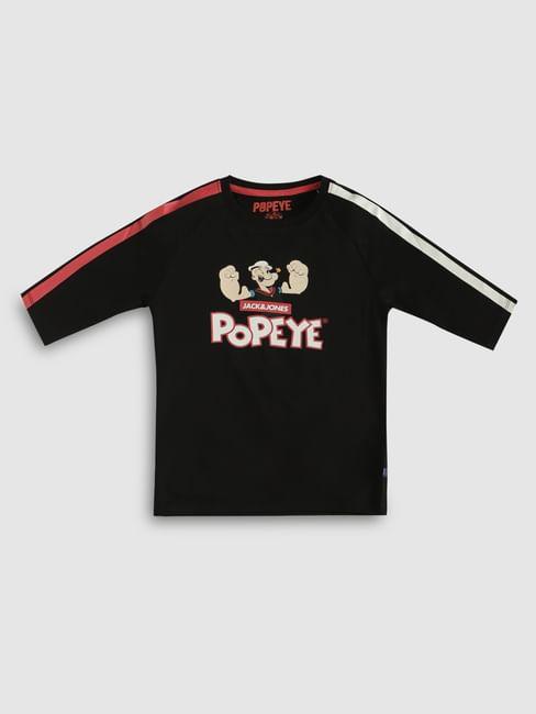 Boys X Popeye Black Printed Crew Neck T-Shirt
