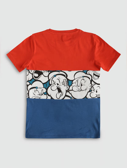 Junior X Popeye Red Colour Blocked Crew Neck T-Shirt