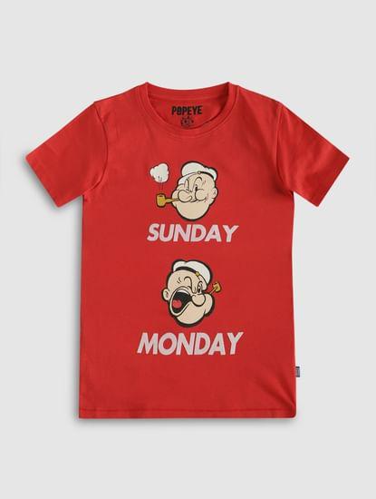 Boys X Popeye Red Printed Crew Neck T-Shirt