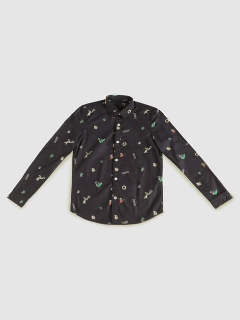 Boys X Popeye Navy Blue Printed Full Sleeves Shirt