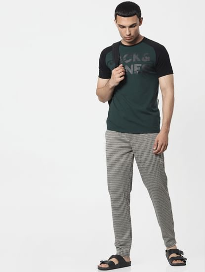 Black Mid Rise Houndstooth Pants