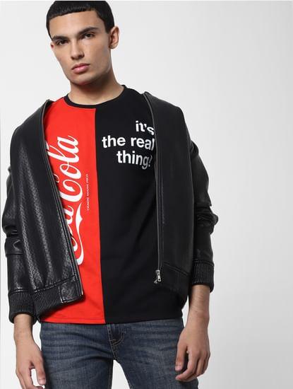 JACK&JONES   COCA COLA Red Slogan Print Crew Neck T-shirt