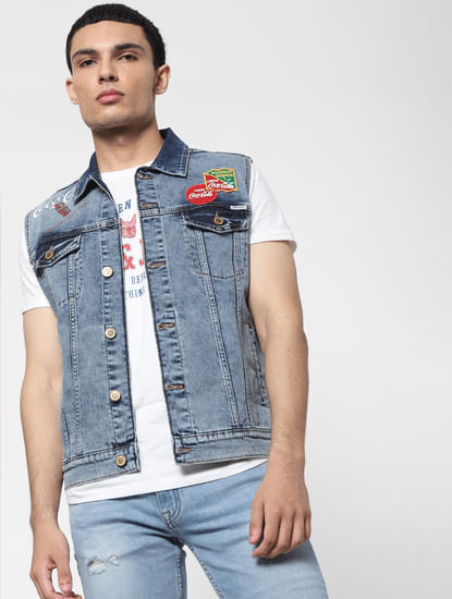 JACK&JONES | COCA COLA Blue Patch Print Denim Jacket