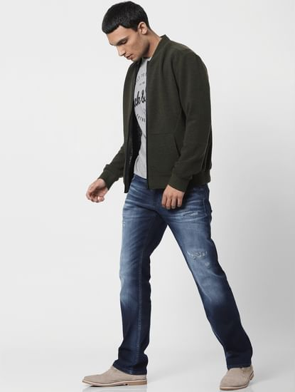 Blue Low Rise Clark Regular Fit Ripped Jeans