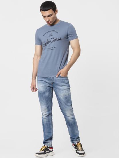 Blue High Rise Glenn Slim Jeans