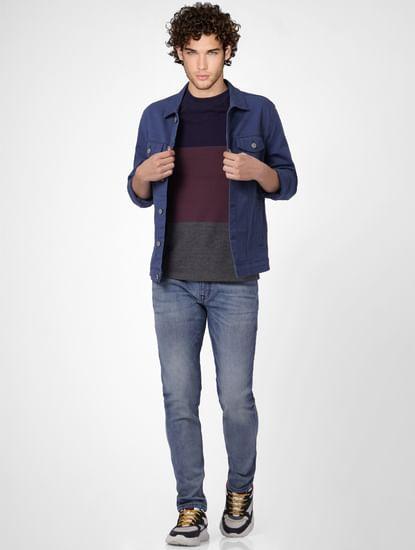 Blue Mid Rise Glenn Slim Jeans