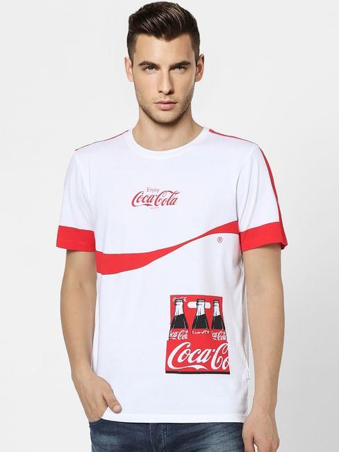 JACK&JONES   Coca Cola White Graphic Print Crew Neck T-shirt
