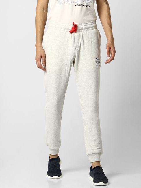 Grey Low Rise Logo Print Sweatpants