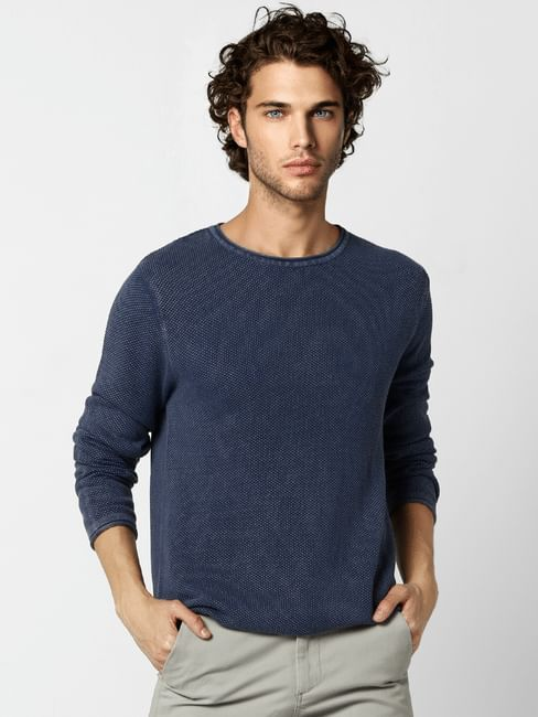 Dark Blue Textured Pullover
