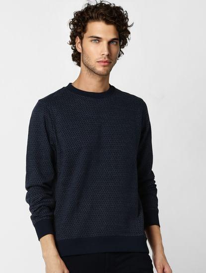 Navy Blue Jacquard Sweatshirt