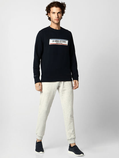 Navy Blue Text Print Sweatshirt