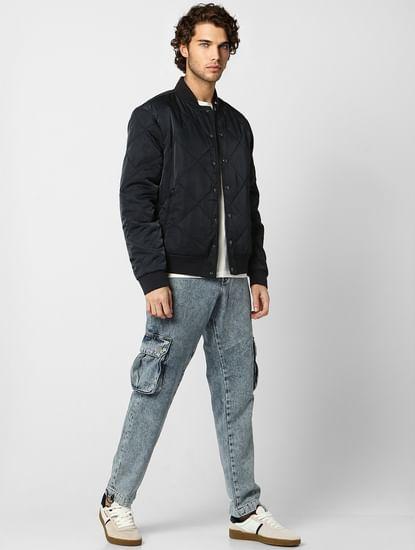 Navy Blue Self-Design Quilted Jacket