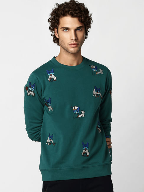 Green All Over Print Sweatshirt