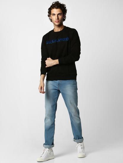 Black Embroidered Logo Print Sweatshirt