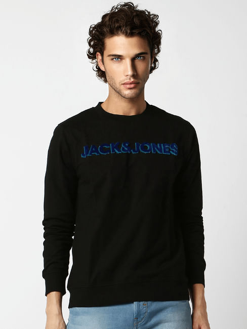 Black Embroidered Logo Print Sweatshirt