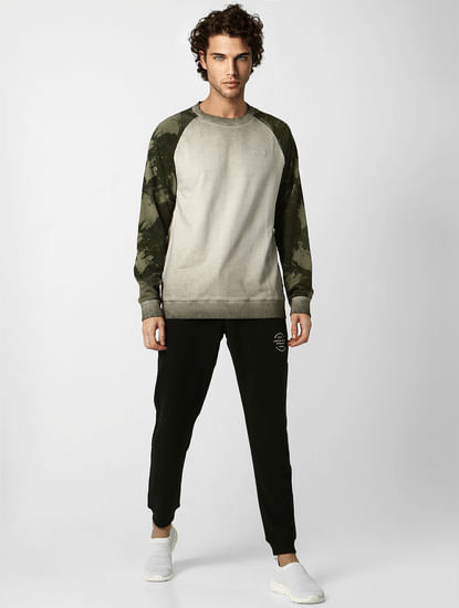 Grey Camo Print Washed Sweatshirt