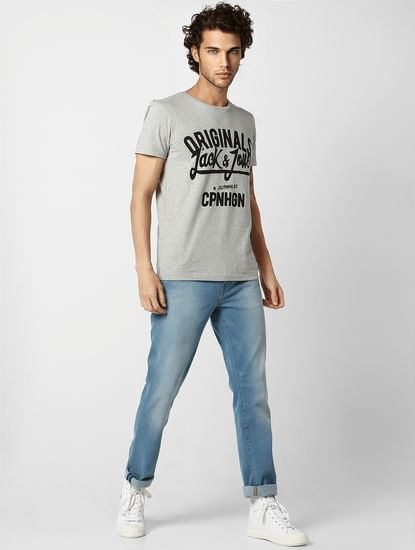 Light Grey Logo Print Crew Neck T-shirt