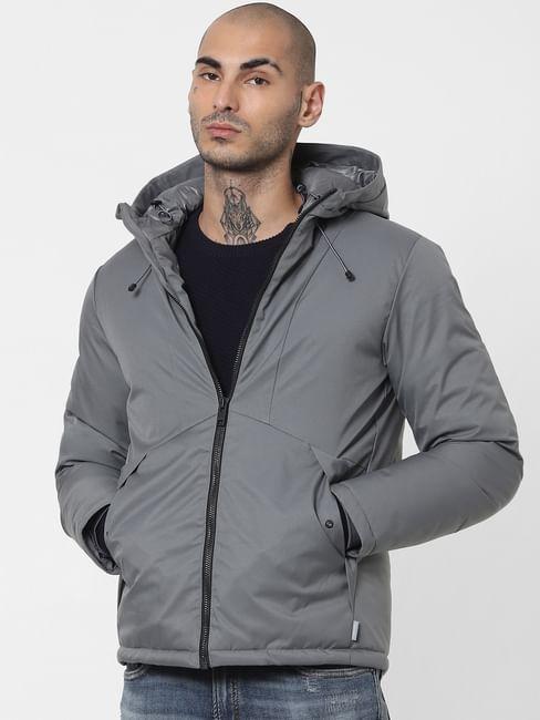 Grey Hooded Winter Jacket