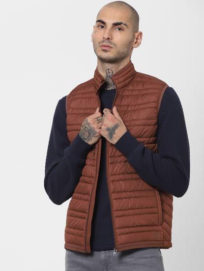 Brown Sleeveless Lightweight Puffer Jacket
