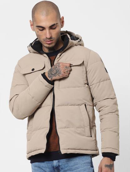 Beige Hooded Puffer Jacket