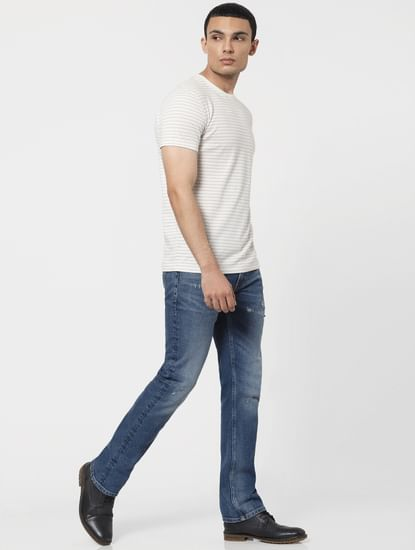 Blue Low Rise Clark Ripped Regular Jeans