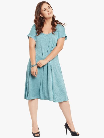 Blue Textured Shift Dress