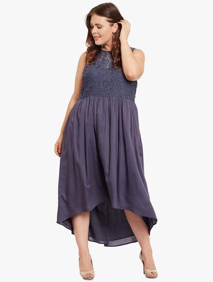 Blue Lace Hi-Low Midi Dress