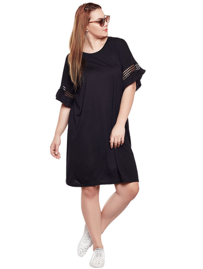 Black Cut Work Sleeves Shift Dress