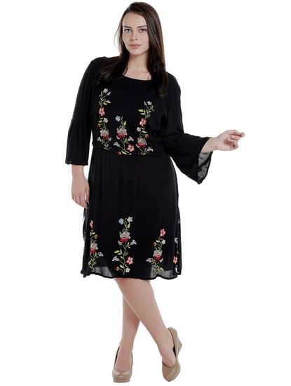 Black Embroidered Fit & Flare Dress