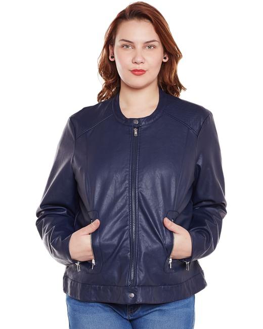Navy Blue PU Jacket