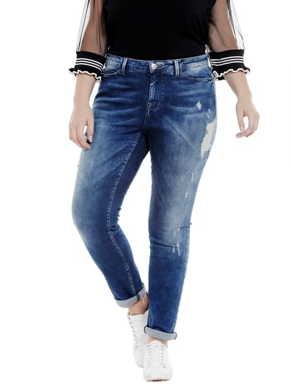 Dark Blue Distressed Slim Fit Jeans