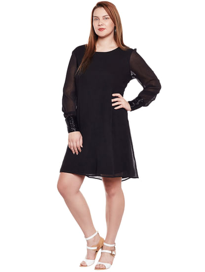 Black Embellished Cuff Fit & Flare Dress