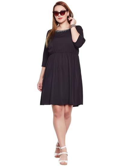 Black Embellished Fit & Flare Dress