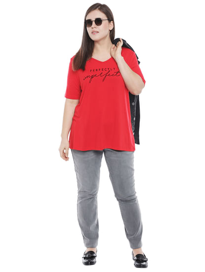 Red Text Print T-shirt