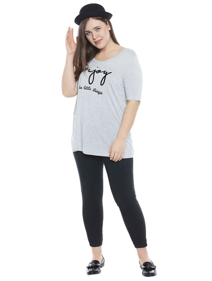 Light Grey Text Print T-shirt