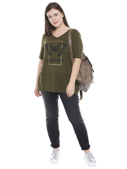 Olive Graphic Print T-shirt