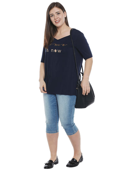 Navy Blue Text Print T-shirt