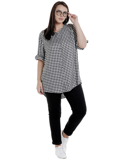 White Check Long Shirt