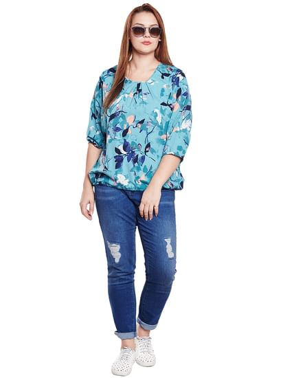 Blue All Over Print Top