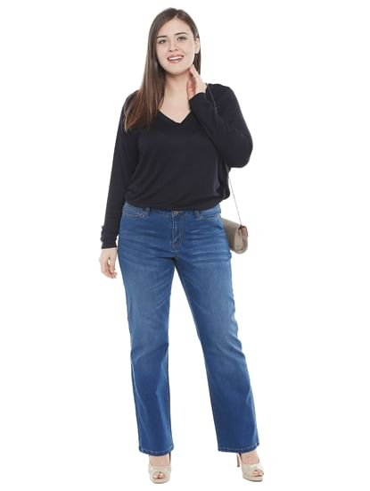 Blue Mid Rise Straight Fit Jeans