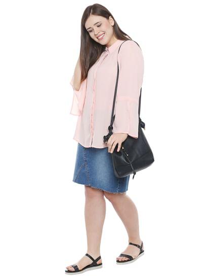 Pink Flared Sleeves Shirt
