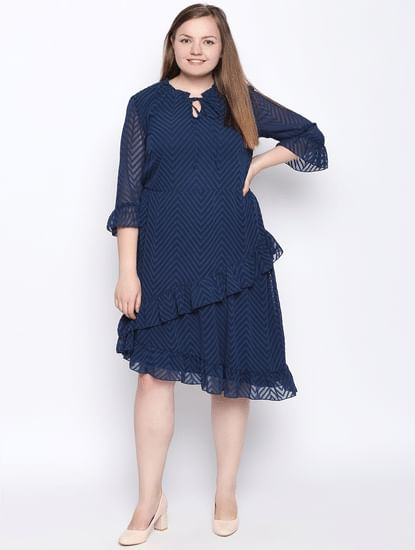 Blue Asymmetric Shift Dress