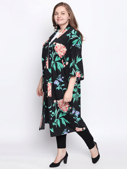 Black All Over Print Kimono