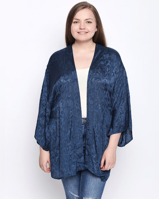 Dark Blue Printed Kimono