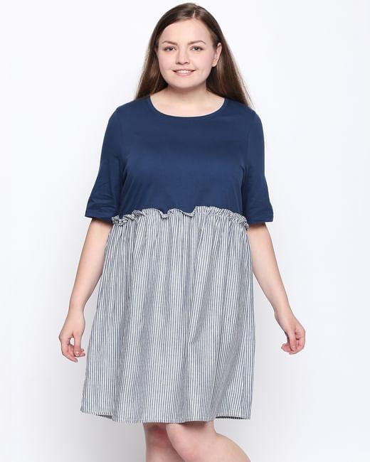 Blue Striped Fit & Flare Dress