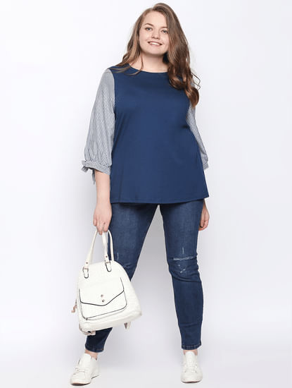 Blue Striped Sleeves Top