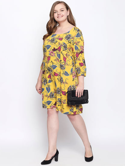 Yellow Printed Shift Dress