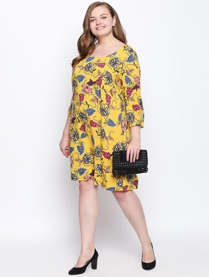 Yellow Printed Shift Dress