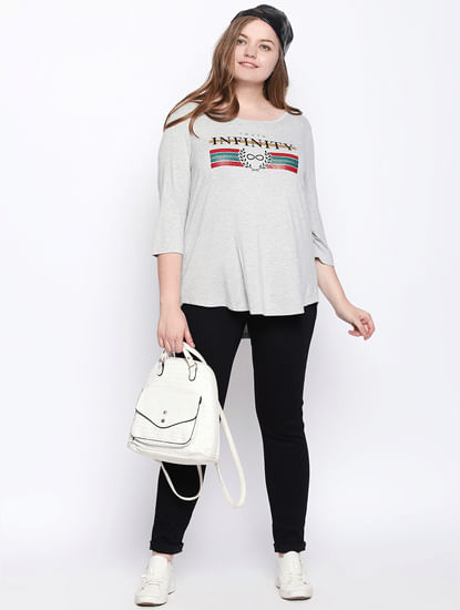 Light Grey Graphic Print T-shirt