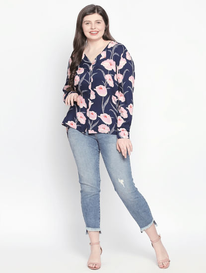 Navy Blue Floral Shirt